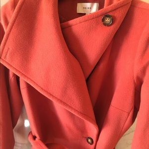 Designer Reiss Luna-Belted Wool Coat RaspberryClay
